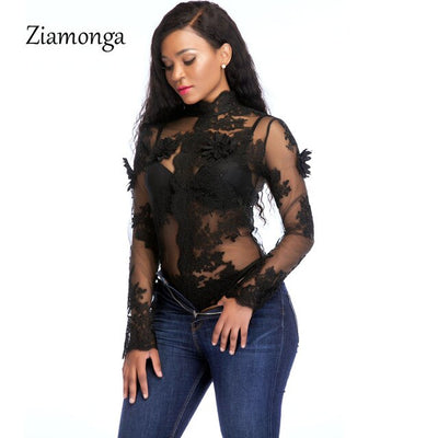 Ziamonga Sexy Mesh Bodysuit Black White Embroidery Lace Patchwork Skinny Jumpsuit  Autumn Long Sleeve Bodysuit