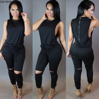 o-neck high waist Sleeveless drawstring hollow out bodycon jumpsuit romper playsuit