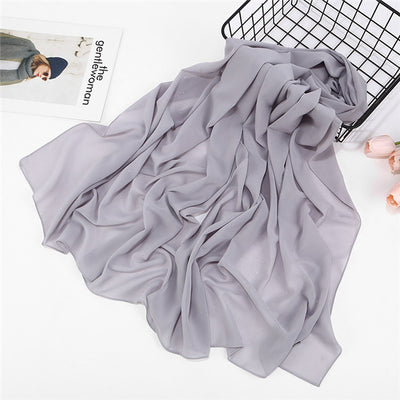 Plain bubble chiffon hijab wrap printed solid color shawls headband Muslim scarf 47 colors