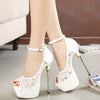 Summer lace platform pumps white stiletto heels open toe dress shoes