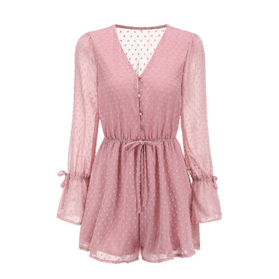 Yinlinhe Sexy Transparent Summer Bohemian Overalls Pink Polka Dot Jumpsuit Long Sleeve