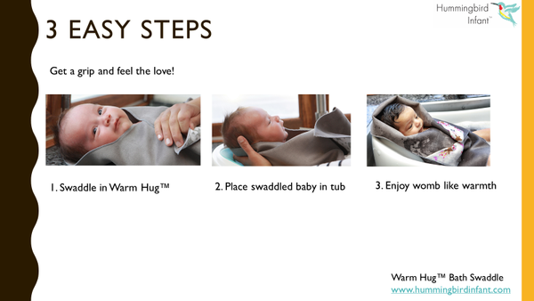 3 easy steps swaddle bath