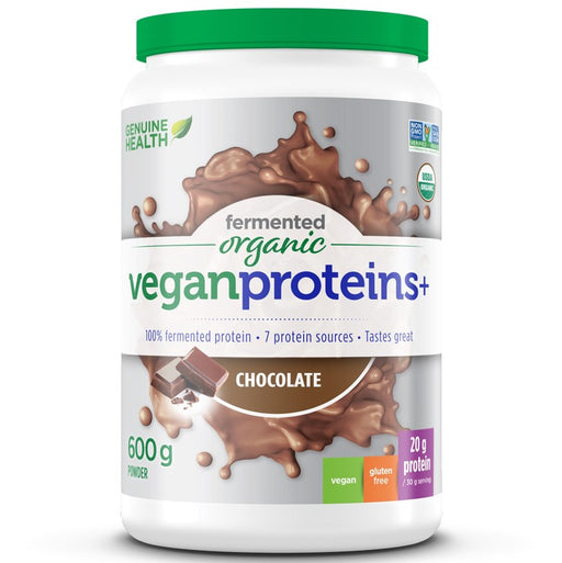 Genuine Health -Fermented Organic Vegan Proteins+ Chocolate 600g