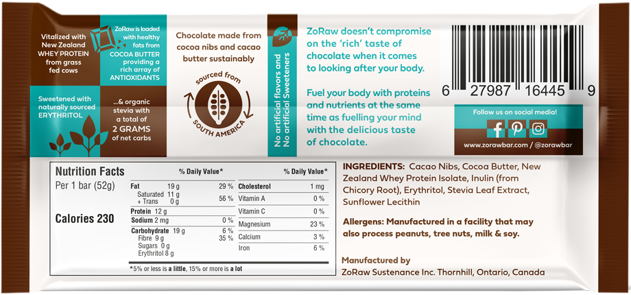 3 Pack- Zoraw Bar- Protein Dark Chocolate Bar (60% Cacao)