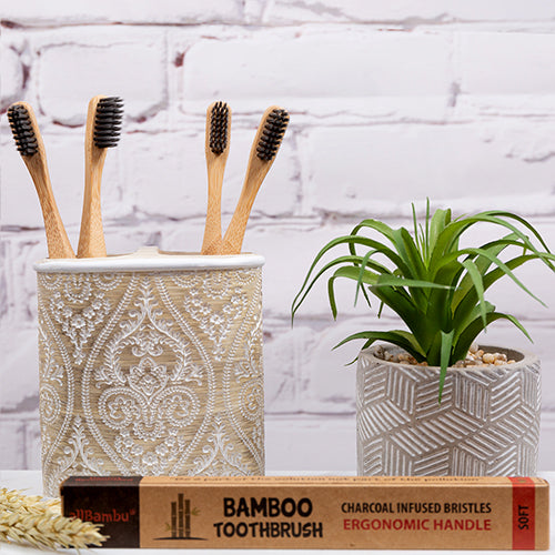 (2-pack) allBambu - Medium Bristle Eco-Friendly Toothbrush