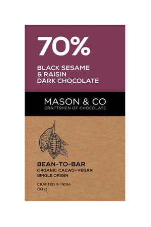 70% Black Sesame & Raisin Dark Chocolate Bar - V-Circle Wellness