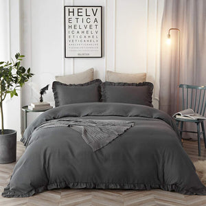 The Ruffled Black Bed Set - Tapestry Girls