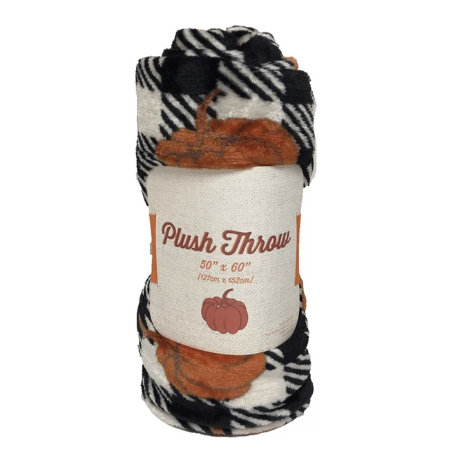 Pumpkin and Plaid Fleece Blanket - Tapestry Girls