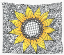 Load image into Gallery viewer, Black Sunflower Tapestry - Tapestry Girls
