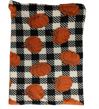 Load image into Gallery viewer, Pumpkin and Plaid Fleece Blanket - Tapestry Girls