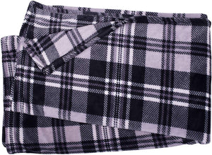 Black and White Plaid Fleece Blanket - Tapestry Girls