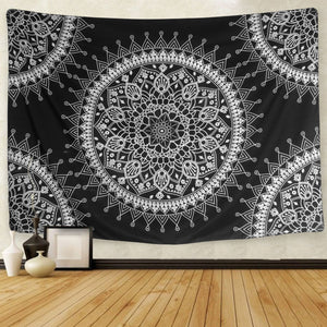 Hippie Black Mandala Tapestry - Tapestry Girls