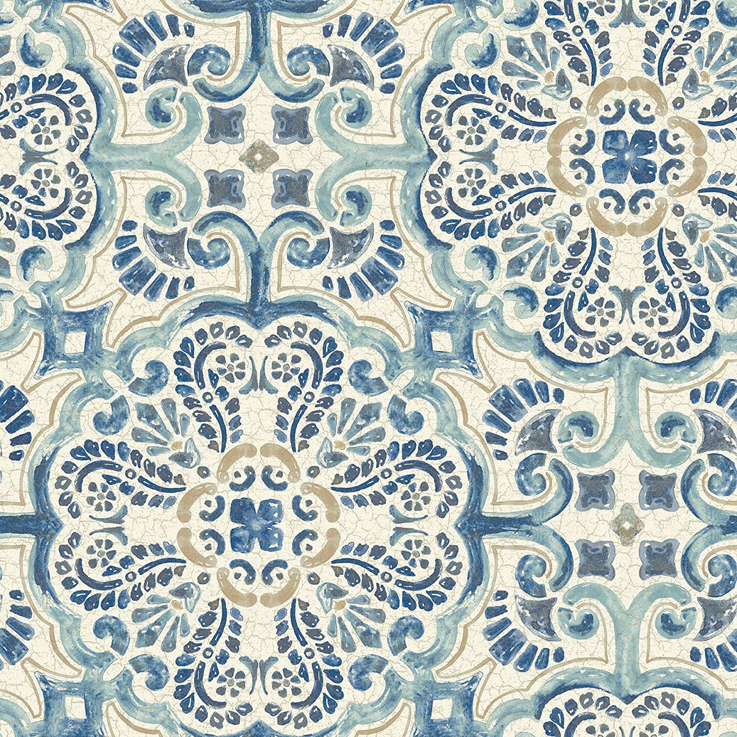 Blue Florentine Removable Wallpaper - Tapestry Girls