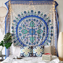 Load image into Gallery viewer, Blue Medallion Tapestry