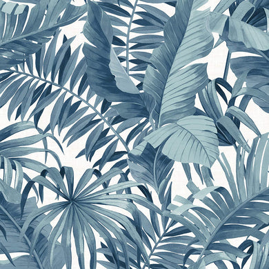 Blue Palm Leaf Removable Wallpaper - Tapestry Girls