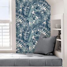 Load image into Gallery viewer, Blue Palm Leaf Removable Wallpaper - Tapestry Girls