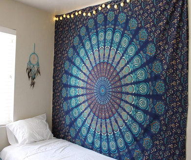 Blue Peacock Tapestry - Tapestry Girls