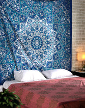 Load image into Gallery viewer, Blue Star Mandala Tapestry - Tapestry Girls