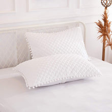 Load image into Gallery viewer, Diamond White Pom Pom Pillows - Tapestry Girls