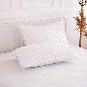 Diamond White Pom Pom Pillows - Tapestry Girls