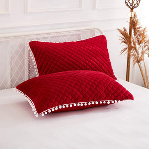 Diamond Red Pom Pom Pillows - Tapestry Girls