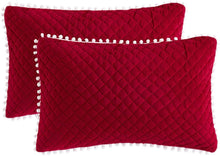 Load image into Gallery viewer, Diamond Red Pom Pom Pillows - Tapestry Girls