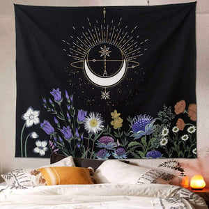 Floral Crescent Moon Tapestry