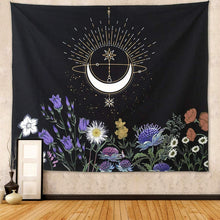 Load image into Gallery viewer, Floral Crescent Moon Tapestry