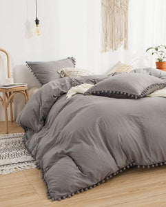 The Softy Pom Pom Gray Bed Set