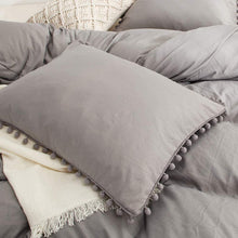 Load image into Gallery viewer, The Softy Pom Pom Gray Bed Set