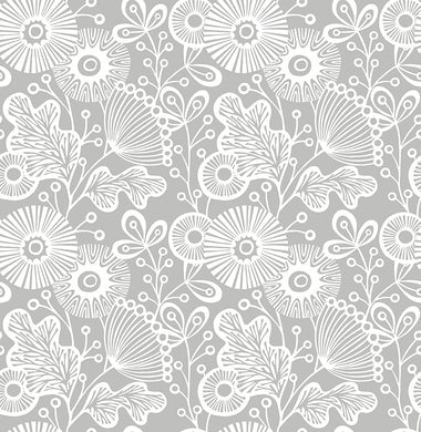 Grey Daisy Removable Wallpaper - Tapestry Girls