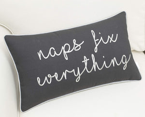 Grey Naps Fix Everything Pillow - Tapestry Girls