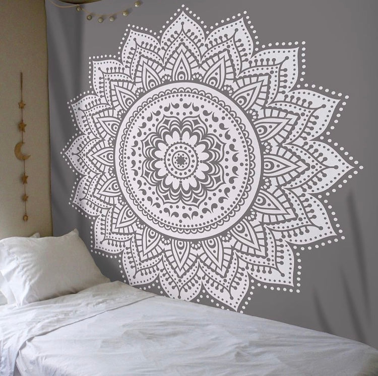 Grey Mandala Tapestry - Tapestry Girls