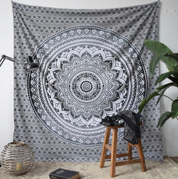 Indian Black Mandala Tapestry - Tapestry Girls