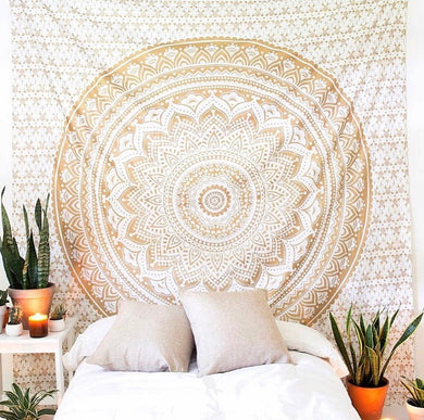 Indian Yellow Mandala Tapestry - Tapestry Girls