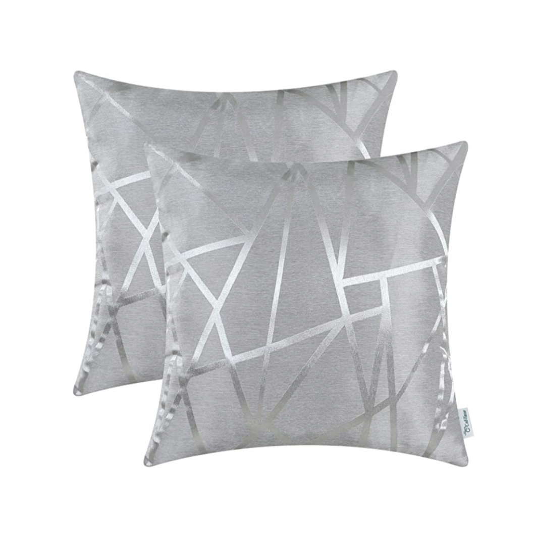 Metallic Décor Grey Pillows - Tapestry Girls