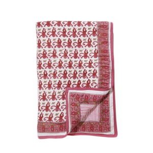 Tapestry Rabbit Monkey Red Quilt - Tapestry Girls