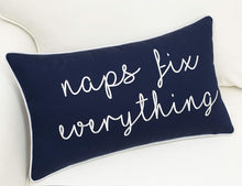 Load image into Gallery viewer, Navy Naps Fix Everything Pillow - Tapestry Girls