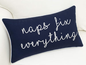 Navy Naps Fix Everything Pillow - Tapestry Girls
