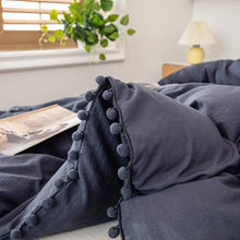 Load image into Gallery viewer, The Softy Pom Pom Navy Bed Set
