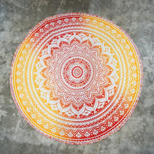 Load image into Gallery viewer, Round Orange Mandala Tapestry - Tapestry Girls