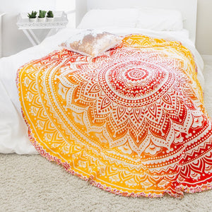 Round Orange Mandala Tapestry - Tapestry Girls