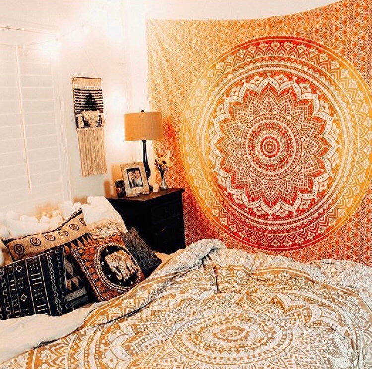 Orange Mandala Tapestry - Tapestry Girls