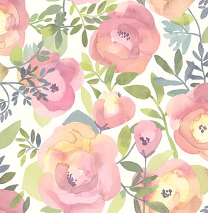 Peachy Keen Pink Removable Wallpaper - Tapestry Girls
