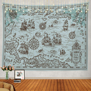 Pirate Treasure Map Tapestry - Tapestry Girls