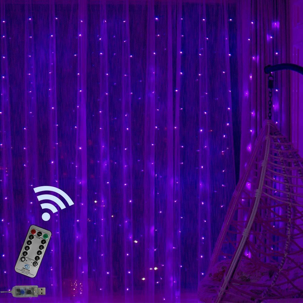 Purple LED Curtain Lights - Tapestry Girls