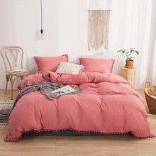 Load image into Gallery viewer, The Softy Pom Pom Red Bed Set