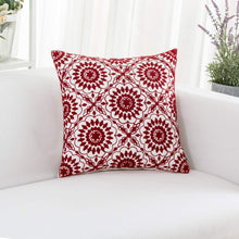 Load image into Gallery viewer, Red Floral Pillow - Tapestry Girls