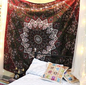 Red Star Mandala Tapestry - Tapestry Girls