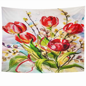 Red Tulips Tapestry - Tapestry Girls